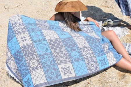 PLAKA BLUE, Beach towel | HAMMAM HÅNDKLE